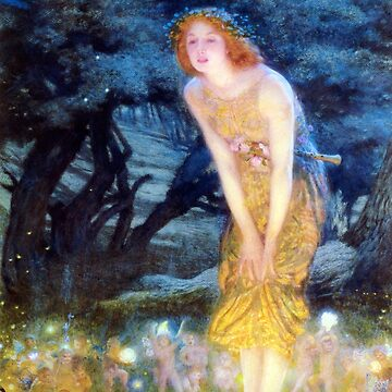 Mid-Summer's Eve circle of fairies, vintage Pre Raphaelite art by Glimmersmith
