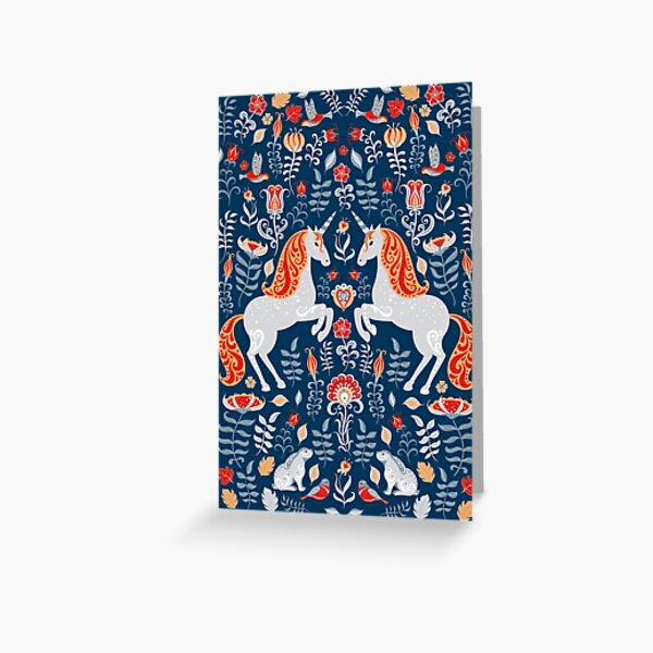Unicorns, hummingbirds, bunnies, birds, flowers and leaves. Decorative poster, card on a blue background. Folk art. Greeting Card
