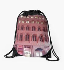 Pink Building  Drawstring Bag