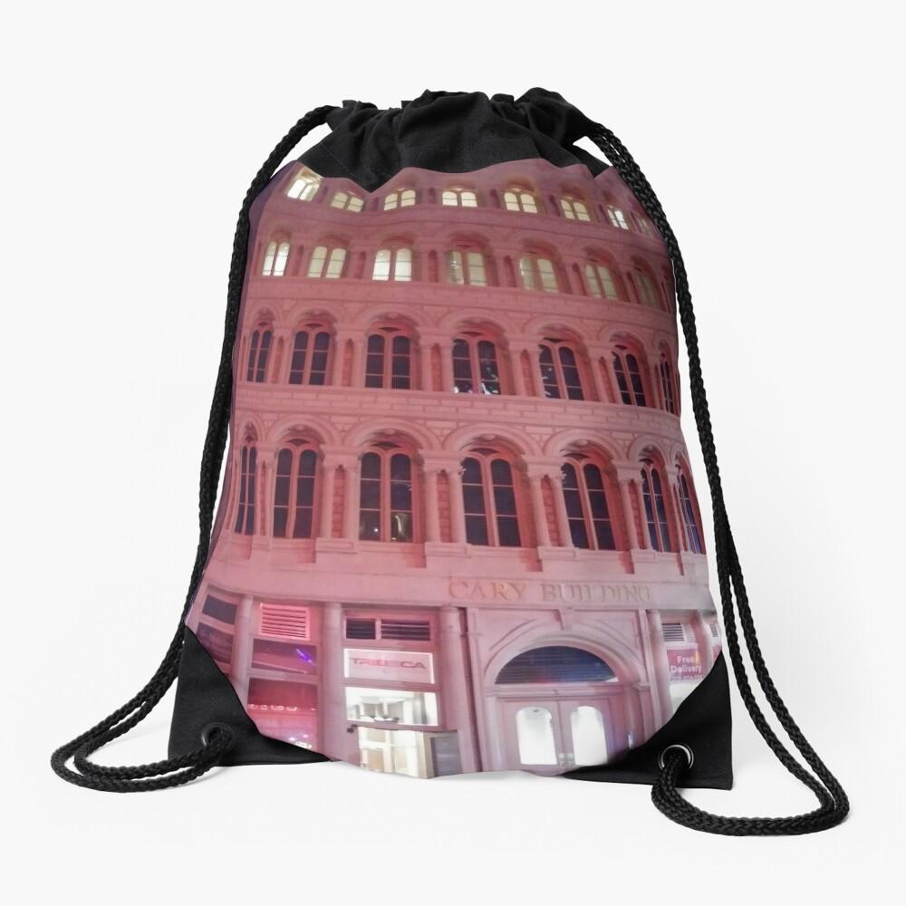 Pink Building  Drawstring Bag