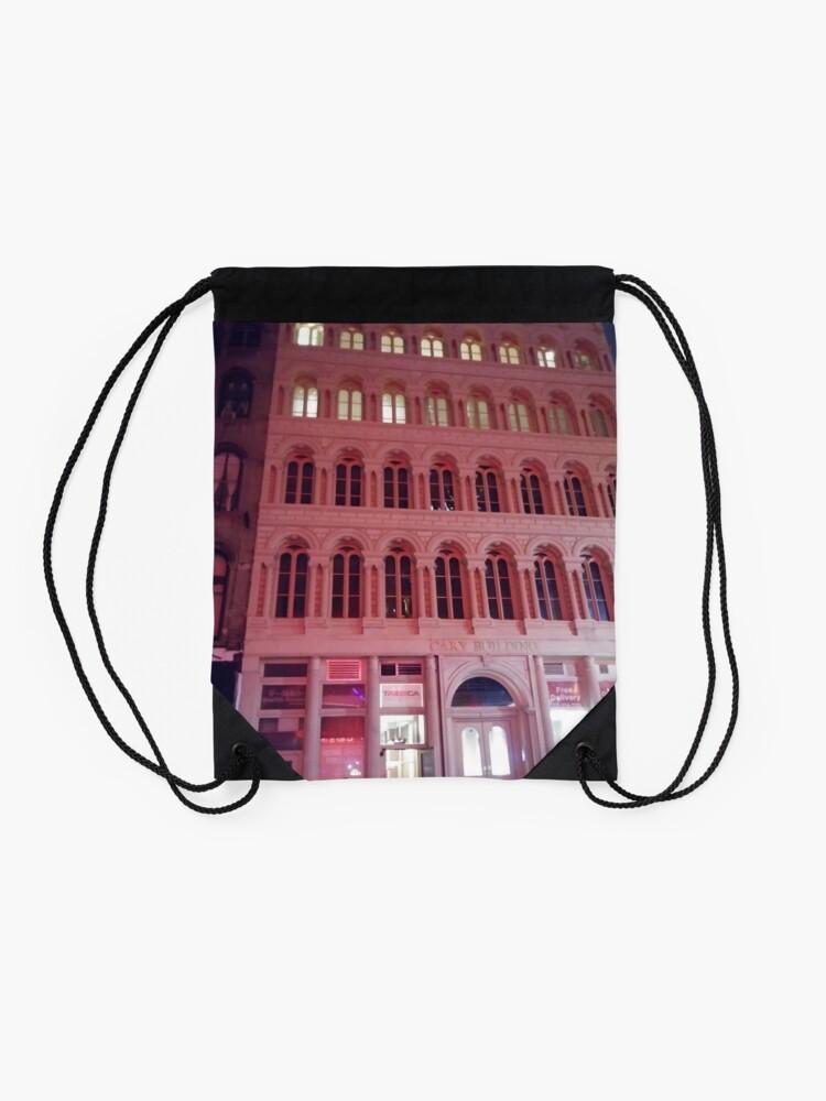 Alternate view of Pink Building  Drawstring Bag