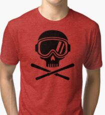 Skull crossed ski Tri-blend T-Shirt