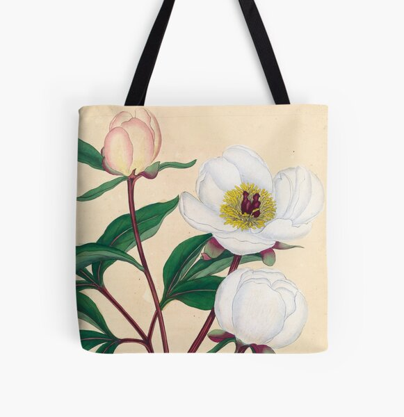 Botanical illustration: Peonies by Henry Charles Andrews – State Library Victoria All Over Print Tote Bag