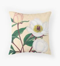 Botanical illustration: Peonies by Henry Charles Andrews – State Library Victoria Throw Pillow