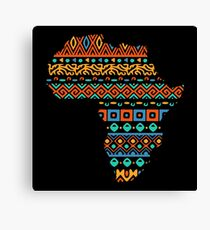 African Traditional Pattern Inside Africa Continent Map Canvas Print