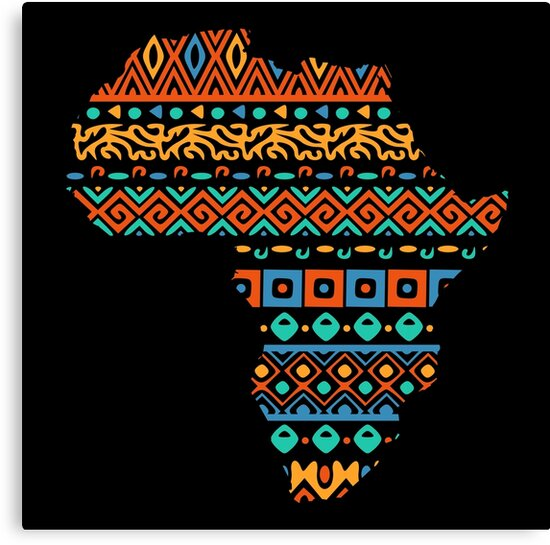 African Traditional Pattern Inside Africa Continent Map\