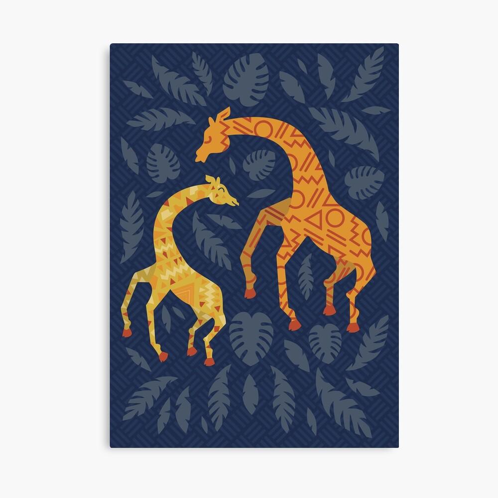 Tanzende Giraffen mit Mustern Leinwanddruck