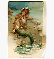 Vintage young mermaid from a bath salts advert Poster