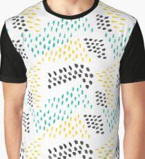 Green Blue Yellow Abstract Watercolor Brush Strokes Graphic T-Shirt