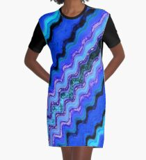 Blue Tranquil Waves Graphic T-Shirt Dress