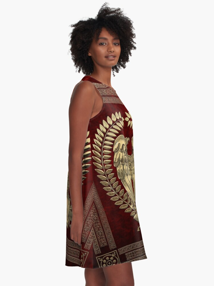 Alternate view of Roman Empire - Gold Imperial Eagle over Red Velvet A-Line Dress
