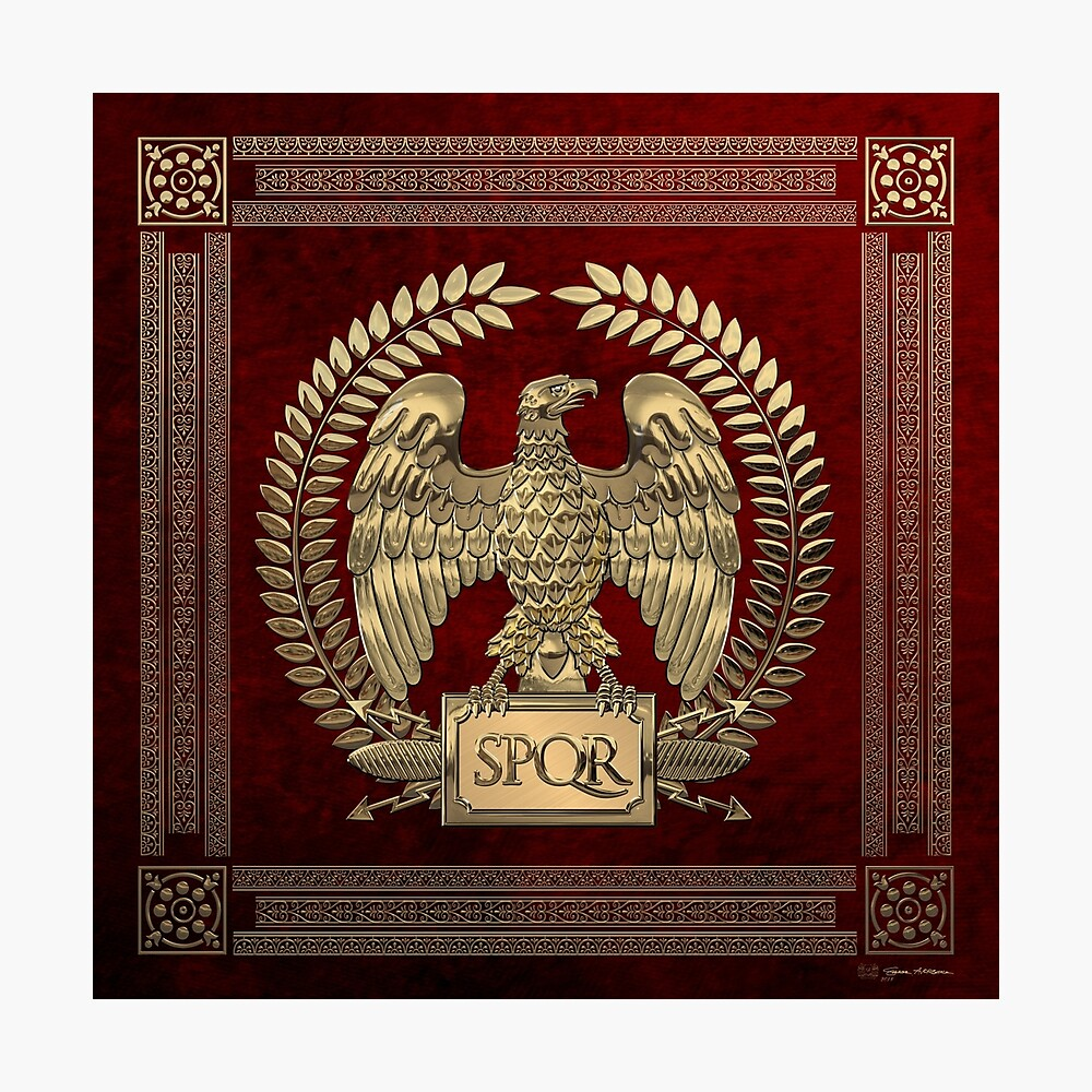 Roman Empire - Gold Imperial Eagle over Red Velvet Photographic Print