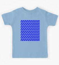 Seamless Pattern of Blue Pixel Hearts (7x6) Kids Tee