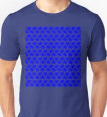 Seamless Pattern of Blue Pixel Hearts (7x6) Unisex T-Shirt