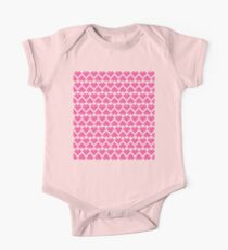 Seamless Pattern of Pink Pixel Hearts (7x6) One Piece - Short Sleeve