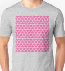 Seamless Pattern of Pink Pixel Hearts (7x6) Unisex T-Shirt