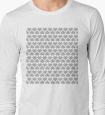 Seamless Pattern of Silver Pixel Hearts (7x6) Long Sleeve T-Shirt