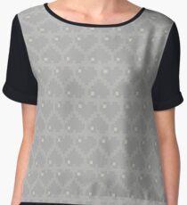 Seamless Pattern of Silver Pixel Hearts (7x6) Chiffon Top