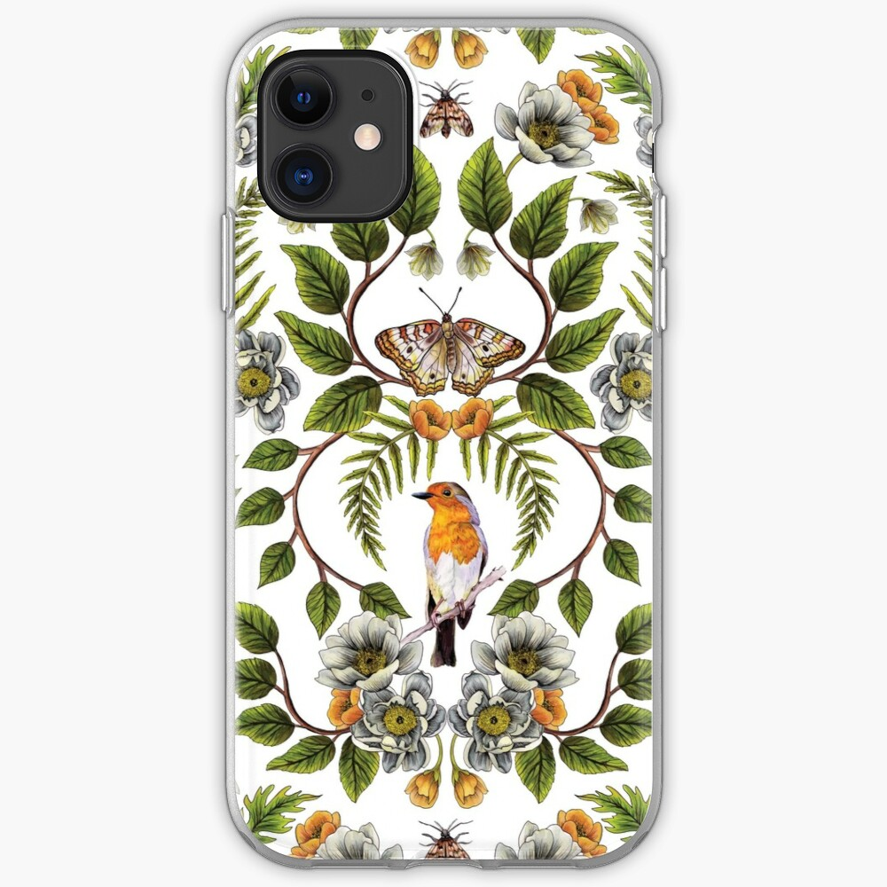 Spring Reflection - Floral/Botanical Pattern w/ Birds, Moths, Dragonflies & Flowers iPhone Case & Cover