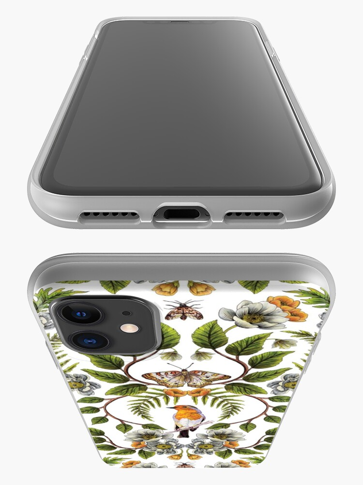 Alternate view of Spring Reflection - Floral/Botanical Pattern w/ Birds, Moths, Dragonflies & Flowers iPhone Case & Cover