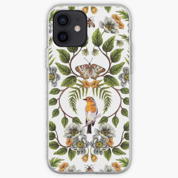 Spring Reflection - Floral/Botanical Pattern w/ Birds, Moths, Dragonflies & Flowers iPhone Soft Case