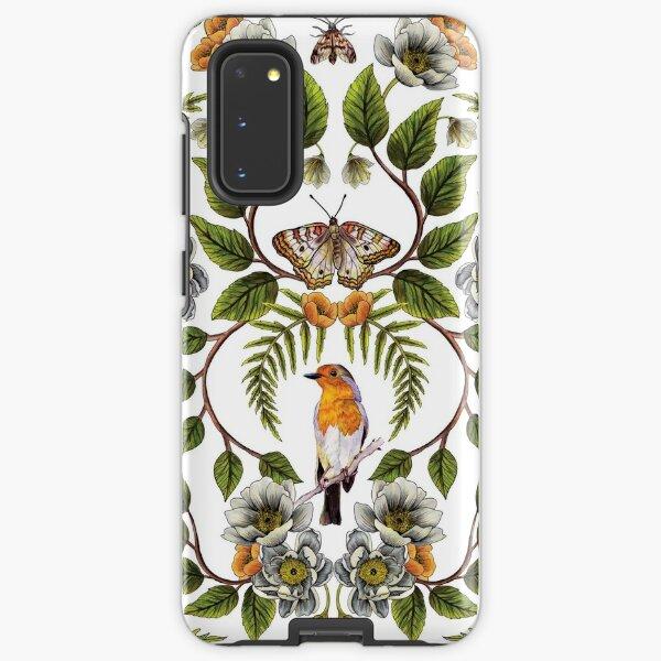 Spring Reflection - Floral/Botanical Pattern w/ Birds, Moths, Dragonflies & Flowers Samsung Galaxy Tough Case