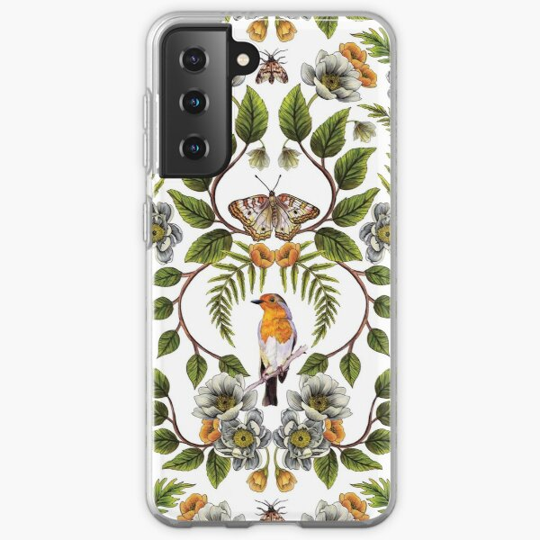 Spring Reflection - Floral/Botanical Pattern w/ Birds, Moths, Dragonflies & Flowers Samsung Galaxy Soft Case