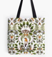 Spring Reflection - Floral/Botanical Pattern w/ Birds, Moths, Dragonflies & Flowers Tote Bag