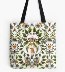 Spring Reflection - Floral/Botanical Pattern w/ Birds, Moths, Dragonflies & Flowers Tote Bag
