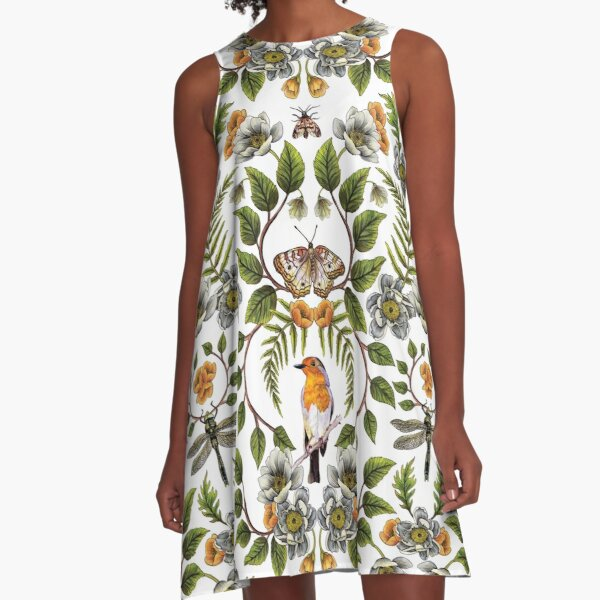 Spring Reflection - Floral/Botanical Pattern w/ Birds, Moths, Dragonflies & Flowers A-Line Dress
