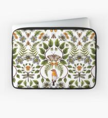 Frühlings-Reflexion - Blumen- / botanisches Muster mit Vögeln, Motten, Libellen u. Blumen Laptoptasche