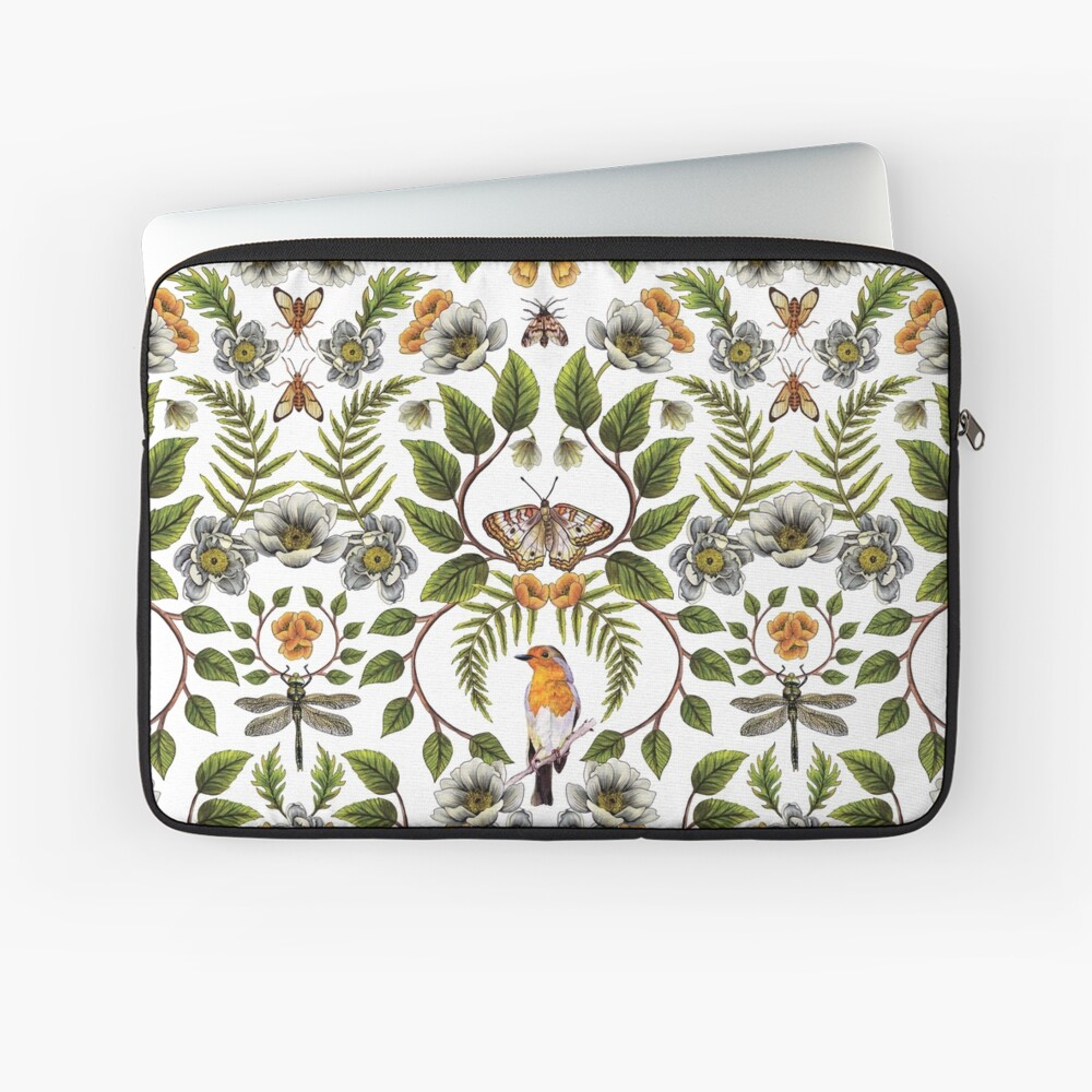 Spring Reflection - Floral/Botanical Pattern w/ Birds, Moths, Dragonflies & Flowers Laptop Sleeve