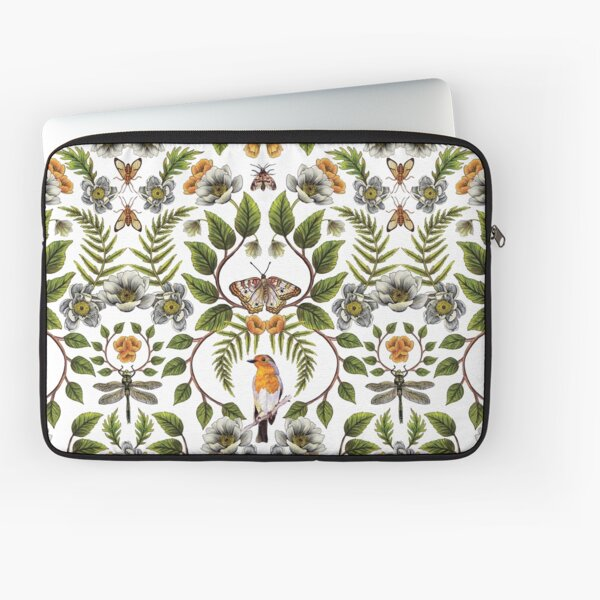 Spring Reflection - Floral/Botanical Pattern w/ Birds, Moths, Dragonflies & Flowers Laptop Sleeve