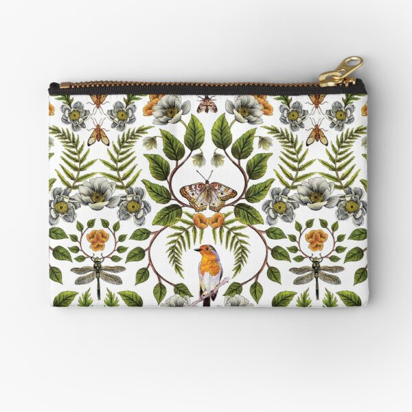Spring Reflection - Floral/Botanical Pattern w/ Birds, Moths, Dragonflies & Flowers Zipper Pouch
