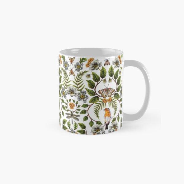 Spring Reflection - Floral/Botanical Pattern w/ Birds, Moths, Dragonflies & Flowers Classic Mug