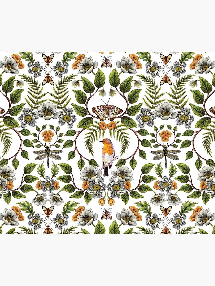 Spring Reflection - Floral/Botanical Pattern w/ Birds, Moths, Dragonflies & Flowers by somecallmebeth