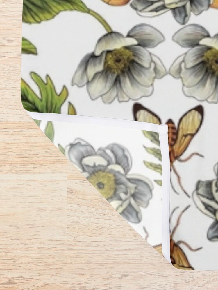 Alternate view of Spring Reflection - Floral/Botanical Pattern w/ Birds, Moths, Dragonflies & Flowers Shower Curtain