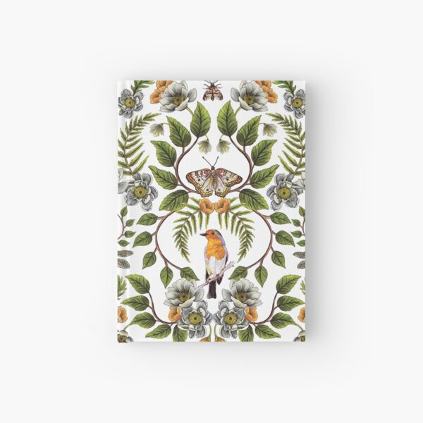 Spring Reflection - Floral/Botanical Pattern w/ Birds, Moths, Dragonflies & Flowers Hardcover Journal