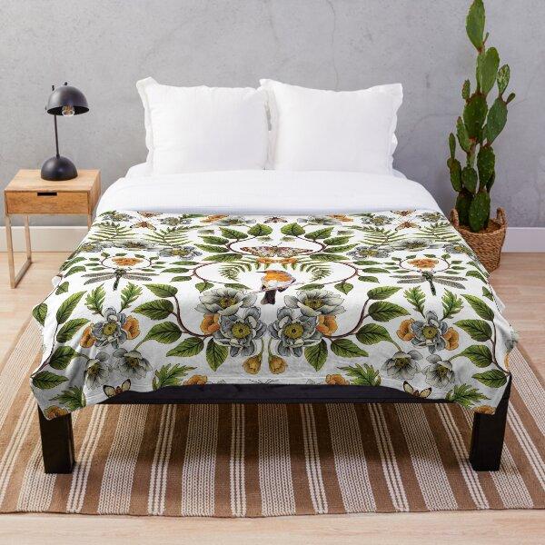 Spring Reflection - Floral/Botanical Pattern w/ Birds, Moths, Dragonflies & Flowers Throw Blanket