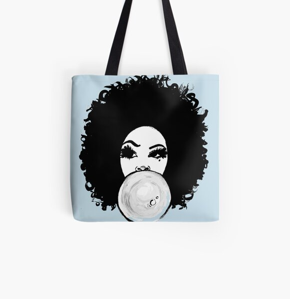 Curly Afro  Pretty Girl Bubble Gum Poppin Natural Hair Art All Over Print Tote Bag
