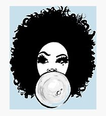Curly Afro Pretty Girl Bubble Gum Poppin  Photographic Print