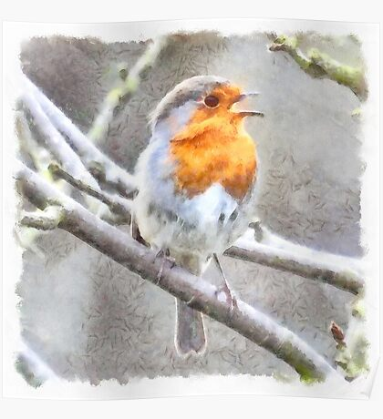 Angelic Robin Watercolor Poster