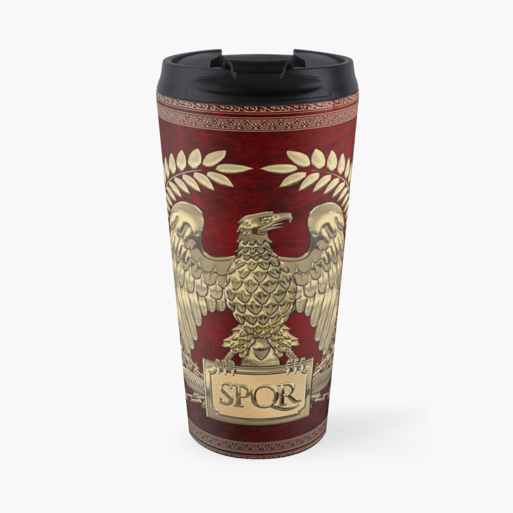 Roman Empire - Gold Imperial Eagle over Red Velvet Travel Mug