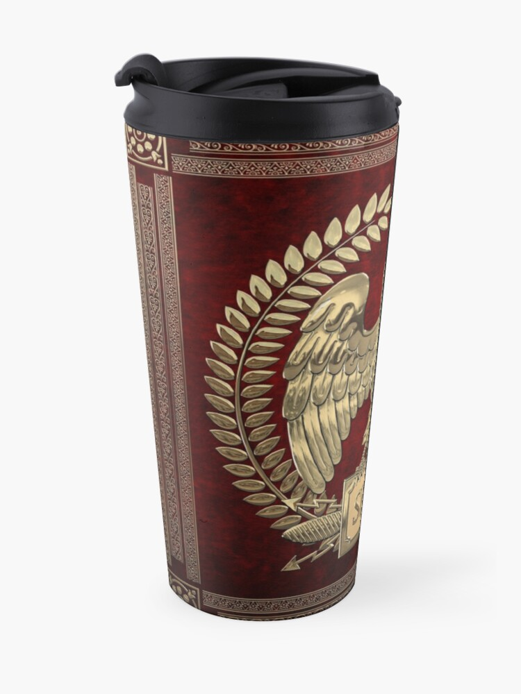 Alternate view of Roman Empire - Gold Imperial Eagle over Red Velvet Travel Mug