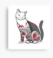 Cat in Cherry Blossom Tattoo Metal Print