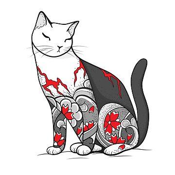 Katze in der Kirschblüten-Tätowierung von runcatrun