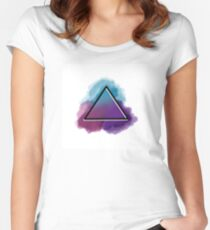 Plain Watercolor Triangle  Women's Fitted Scoop T-Shirt