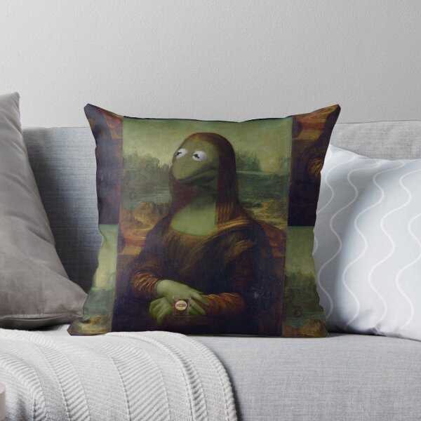 Mona Kermit Throw Pillow
