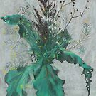 Burdock leaves and autumn herbs, gray teal  by clipsocallipso