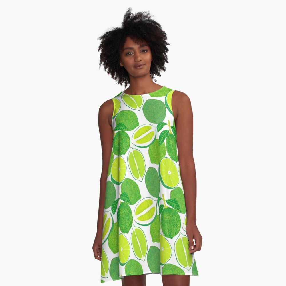 Lime Harvest A-Line Dress